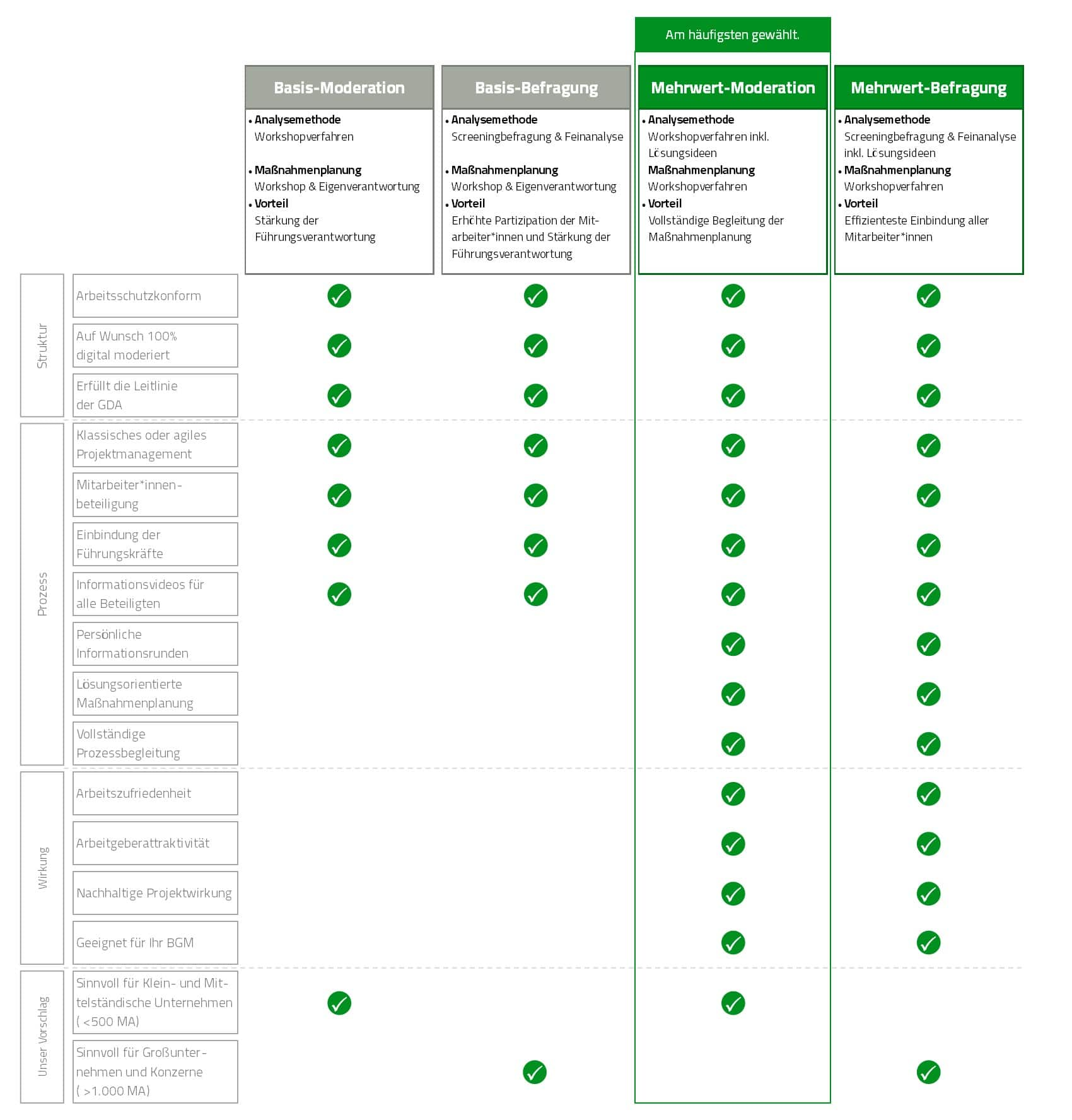 Vier Systeme zur Projektumsetzung der GB Psyche werden in einer Tabelle gegenüber gestellt