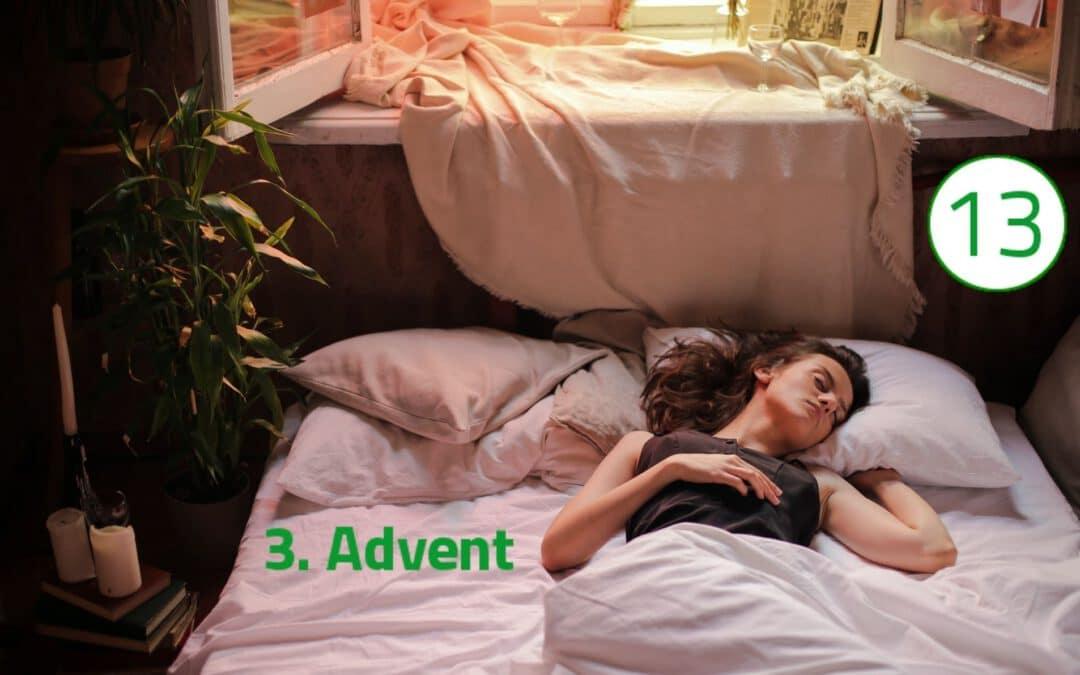 Eine Frau liegt zugedeckt auf dem Rücken im weißen Bett. Ihr Kopf ist im Schlaf leicht zur Seite geneigt. Durch das geöffnete Fenster am oberen Bildrand dringen Sonnenstrahlen. Auf der linken Seite des Bildes ragen Zimmerpflanzen in den Bildausschnitt.st geöffnet.