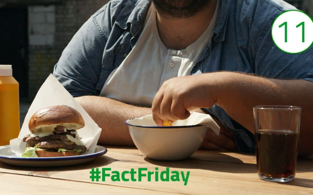Übergewichtiger Mann, der Kopf ist nicht sichtbar, sitzt am Tisch und greift in eine Schüssel. Links von der Schüssel steht ein Burger, rechts davon ein Glas Cola.