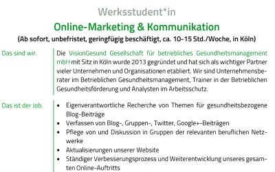 Werksstudent*in Online-Marketing & Kommunikation